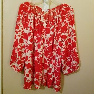 Red & White Floral Silhouette Blouse 2X